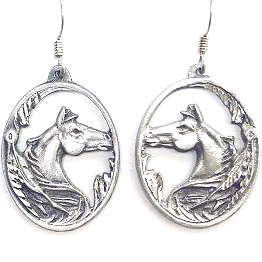 Dangle Earrings - Horse head - Siskiyou's dangle earrings are cast in zinc, lead free and hypoallergenic featuring an emblem with a Horse head.