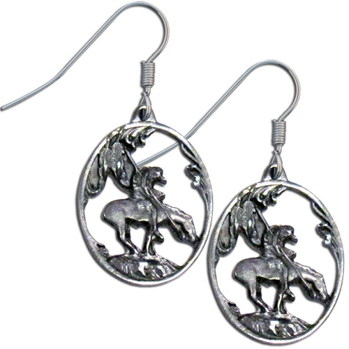 Dangle Earrings - End of the Trail - Siskiyou's dangle earrings are cast in zinc, lead free and hypoallergenic featuring an emblem depicting the End of the Trail.