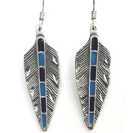 Dangle Earrings - Feather - Siskiyou's dangle earrings are cast in zinc, lead free and hypoallergenic featuring an emblem with a Feather.
