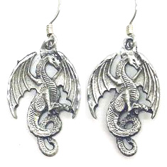 Dangle Earrings - Dragon - Siskiyou's dangle earrings are cast in zinc, lead free and hypoallergenic featuring an emblem with a Dragon.