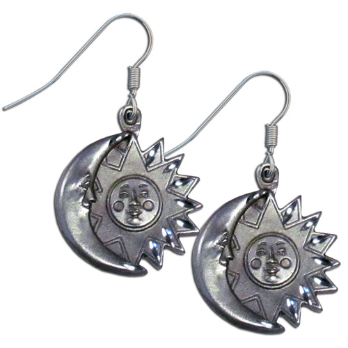 Dangle Earrings - Sun and Moon - Siskiyou's dangle earrings are cast in zinc, lead free and hypoallergenic featuring an emblem with a Sun and Moon.