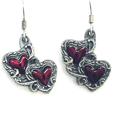 Dangle Earrings - Double Hearts - Siskiyou's dangle earrings are cast in zinc, lead free and hypoallergenic featuring an emblem with a Double Hearts.