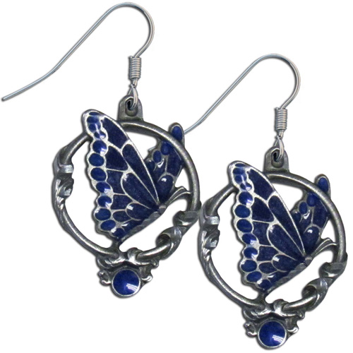 Dangle Earrings - Butterfly - Siskiyou's dangle earrings are cast in zinc, lead free and hypoallergenic featuring an emblem with a Butterfly.