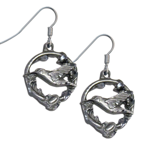 Dangle Earrings Hummingbird - Siskiyou's dangle earrings are cast in zinc, lead free and hypoallergenic featuring an emblem with a Hummingbird