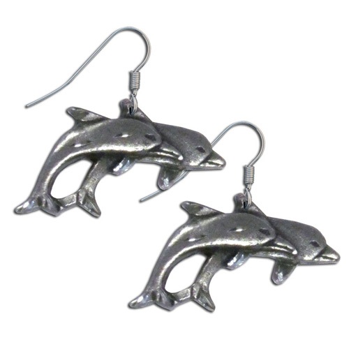 Dangle Earrings - Two Dolphins - Siskiyou's dangle earrings are cast in zinc, lead free and hypoallergenic featuring an emblem with a Two Dolphins.