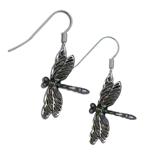 Dangle Earrings - Dragonfly - Siskiyou's dangle earrings are cast in zinc, lead free and hypoallergenic featuring an emblem with a Dragonfly.