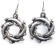 Dangle Earrings - Dolphin Circle - Siskiyou's dangle earrings are cast in zinc, lead free and hypoallergenic featuring an emblem with a Dolphin Circle.