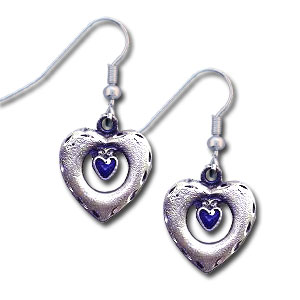 Dangle Earrings - Heart in Heart - Siskiyou's dangle earrings are cast in zinc, lead free and hypoallergenic featuring an emblem with a Heart in Heart.