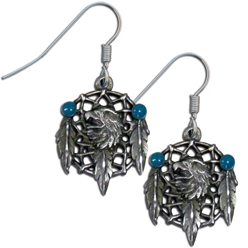 Dangle Earrings - Eagle Dream Catcher - Siskiyou's dangle earrings are cast in zinc, lead free and hypoallergenic featuring an emblem with a Eagle Dream Catcher.