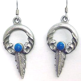 Dangle Earrings - Ring & Feather - Siskiyou's dangle earrings are cast in zinc, lead free and hypoallergenic featuring an emblem with a Ring and Feather.