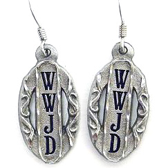 Dangle Earrings - What Would Jesus Do - Siskiyou's dangle earrings are cast in zinc, lead free and hypoallergenic featuring an emblem with a What Would Jesus Do.