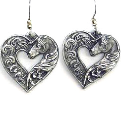 Dangle Earrings - Horse head Heart - Siskiyou's dangle earrings are cast in zinc, lead free and hypoallergenic featuring an emblem with a Horse head Heart.