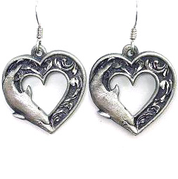 Dangle Earrings - Dolphin Heart - Siskiyou's dangle earrings are cast in zinc, lead free and hypoallergenic featuring an emblem with a Dolphin Heart.