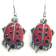Dangle Earrings - Lady Bug - Siskiyou's dangle earrings are cast in zinc, lead free and hypoallergenic featuring an emblem with a Lady Bug.