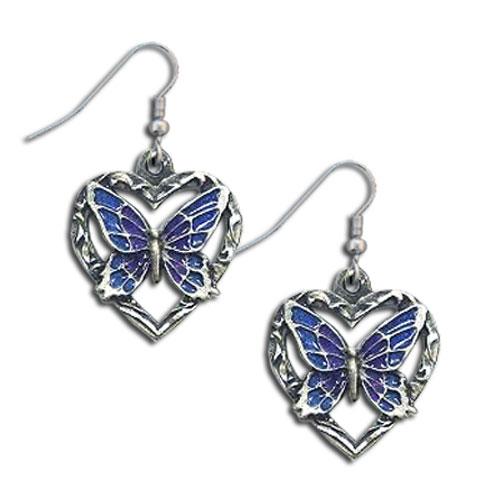 Dangle Earrings - Butterfly Heart - Siskiyou's dangle earrings are cast in zinc, lead free and hypoallergenic featuring an emblem with a Butterfly Heart.