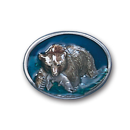 Belt Buckle - Grizzly Catching Fish - This finely sculpted and hand enameled grizzly belt buckle contains exceptional 3D detailing. Siskiyou's unique buckle designs often become collector's items and are unequaled with the best craftsmanship.