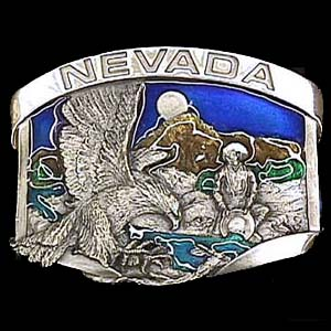 Belt Buckle - Nevada  Eagle/Gold miner - This finely sculpted and hand enameled Nevada belt buckle contains exceptional 3D detailing. Siskiyou's unique buckle designs often become collector's items and are unequaled with the best craftsmanship.