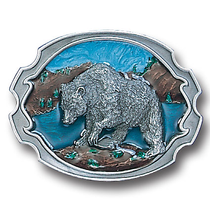 Belt Buckle - Grizzly Bear  - This finely sculpted and hand enameled grizzly belt buckle contains exceptional 3D detailing. Siskiyou's unique buckle designs often become collector's items and are unequaled with the best craftsmanship.