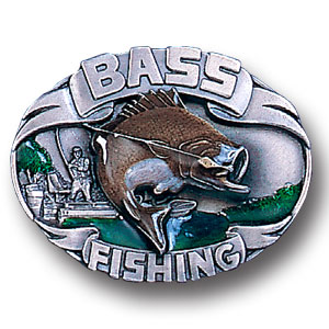 Belt Buckle - Bass Fishing 3D  - This finely sculpted and hand enameled  Bass Fishing 3D fishing belt buckle contains exceptional 3D detailing. Siskiyou's unique buckle designs often become collector's items and are unequaled with the best craftsmanship.