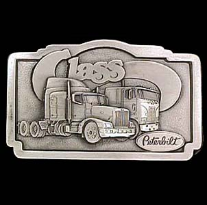 Belt Buckle - Peterbilt Class Trucker - This finely sculpted Peterbilt Class trucker belt buckle contains exceptional 3D detailing. Siskiyou's unique buckle designs often become collector's items and are unequaled with the best craftsmanship.