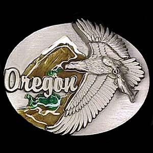 Belt Buckle -Oregon  Eagle/Mountain - This finely sculpted and enameled Oregon belt buckle contains exceptional 3D detailing. Siskiyou's unique buckle designs often become collector's items and are unequaled with the best craftsmanship.