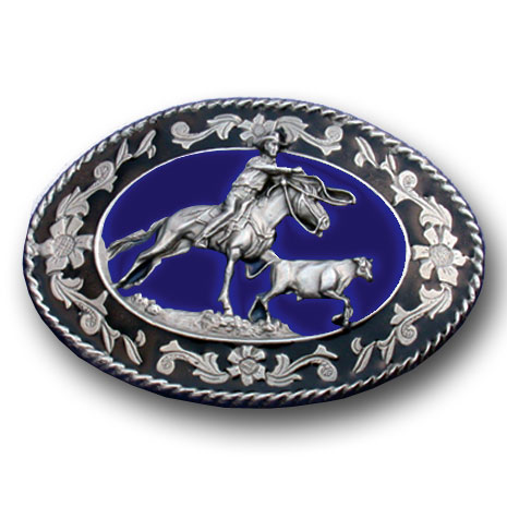 Calf Roper Belt Buckle - This finely sculpted and hand enameled calf roper belt buckle contains exceptional 3D detailing. Siskiyou's unique buckle designs often become collector's items and are unequaled with the best craftsmanship.
