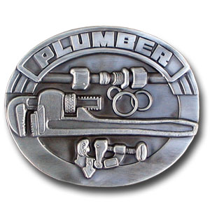 Belt Buckle - Plumber 3D - Finely sculpted and intricately designed plumber belt buckle. Our unique designs often become collector's items. Check out our entire line of  belt buckles.