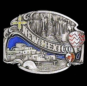 Belt Buckle - New Mexico Split Image  - This finely sculpted and hand enameled New Mexico belt buckle contains exceptional 3D detailing. Siskiyou's unique buckle designs often become collector's items and are unequaled with the best craftsmanship.