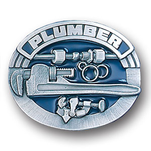 Belt Buckle - Plumber 3D - This finely sculpted and hand enameled plumber belt buckle contains exceptional 3D detailing. Siskiyou's unique buckle designs often become collector's items and are unequaled with the best craftsmanship.