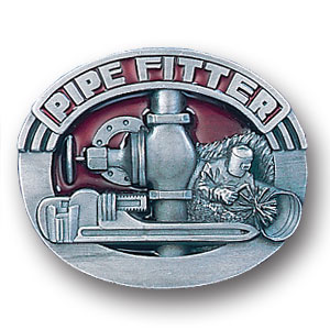 Belt Buckle - Pipe Fitter - This finely sculpted and hand enameled pipe fitter belt buckle contains exceptional 3D detailing. Siskiyou's unique buckle designs often become collector's items and are unequaled with the best craftsmanship.