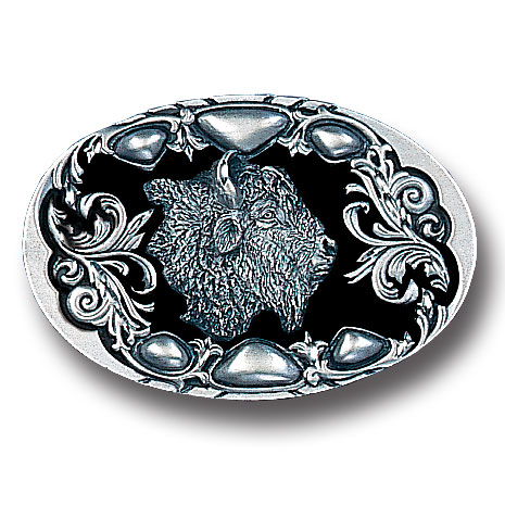 Belt Buckle - Buffalo (Diamond Cut) - This finely sculpted buffalo belt buckle contains exceptional 3D detailing and diamond cut accents. Siskiyou's unique buckle designs often become collector's items and are unequaled with the best craftsmanship.