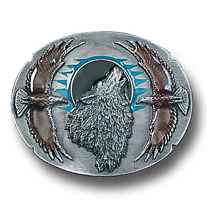 Belt Buckle - Wolf Framed by Eagles - This finely sculpted and hand enameled wolf belt buckle contains exceptional 3D detailing. Siskiyou's unique buckle designs often become collector's items and are unequaled with the best craftsmanship.