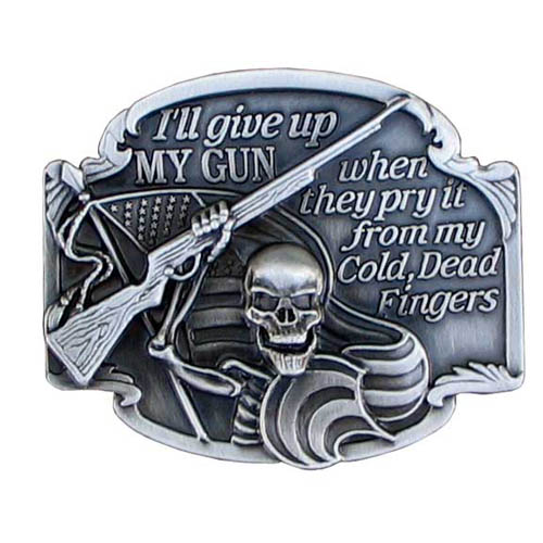 Belt Buckle - I'll Give Up My Gun - Finely sculpted and intricately designed belt buckle. Our unique designs often become collector's items. Check out our entire line of  belt buckles.