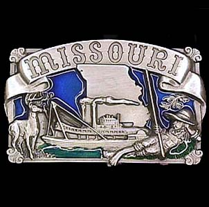 Belt Buckle - Missouri Boat - This finely sculpted and hand enameled Missouri belt buckle contains exceptional 3D detailing. Siskiyou's unique buckle designs often become collector's items and are unequaled with the best craftsmanship.