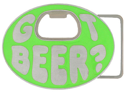 Got Beer? Belt Buckle Neon Green - Our finely sculpted and hand painted belt buckle not only looks great, it's handy at any party. The center of the buckle is actually a bottle opener! Got beer anyone?