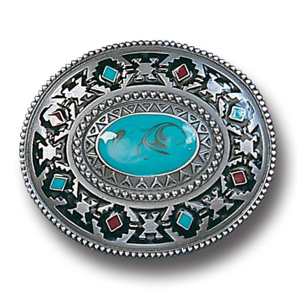 Belt Buckle - SW Design - Turquoise  - This finely sculpted and hand enameled Southwest belt buckle contains exceptional 3D detailing. Siskiyou's unique buckle designs often become collector's items and are unequaled with the best craftsmanship.