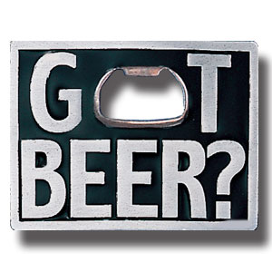 "Belt Buckle - Got Beer? Bottle Opener - This finely sculpted and hand enameled ""Got Beer"" belt buckle contains exceptional 3D detailing. Siskiyou's unique buckle designs often become collector's items and are unequaled with the best craftsmanship."