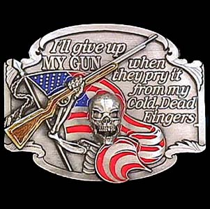 Belt Buckle - I'll Give Up My Gun - This finely sculpted and hand enameled belt buckle contains exceptional 3D detailing. Siskiyou's unique buckle designs often become collector's items and are unequaled with the best craftsmanship.
