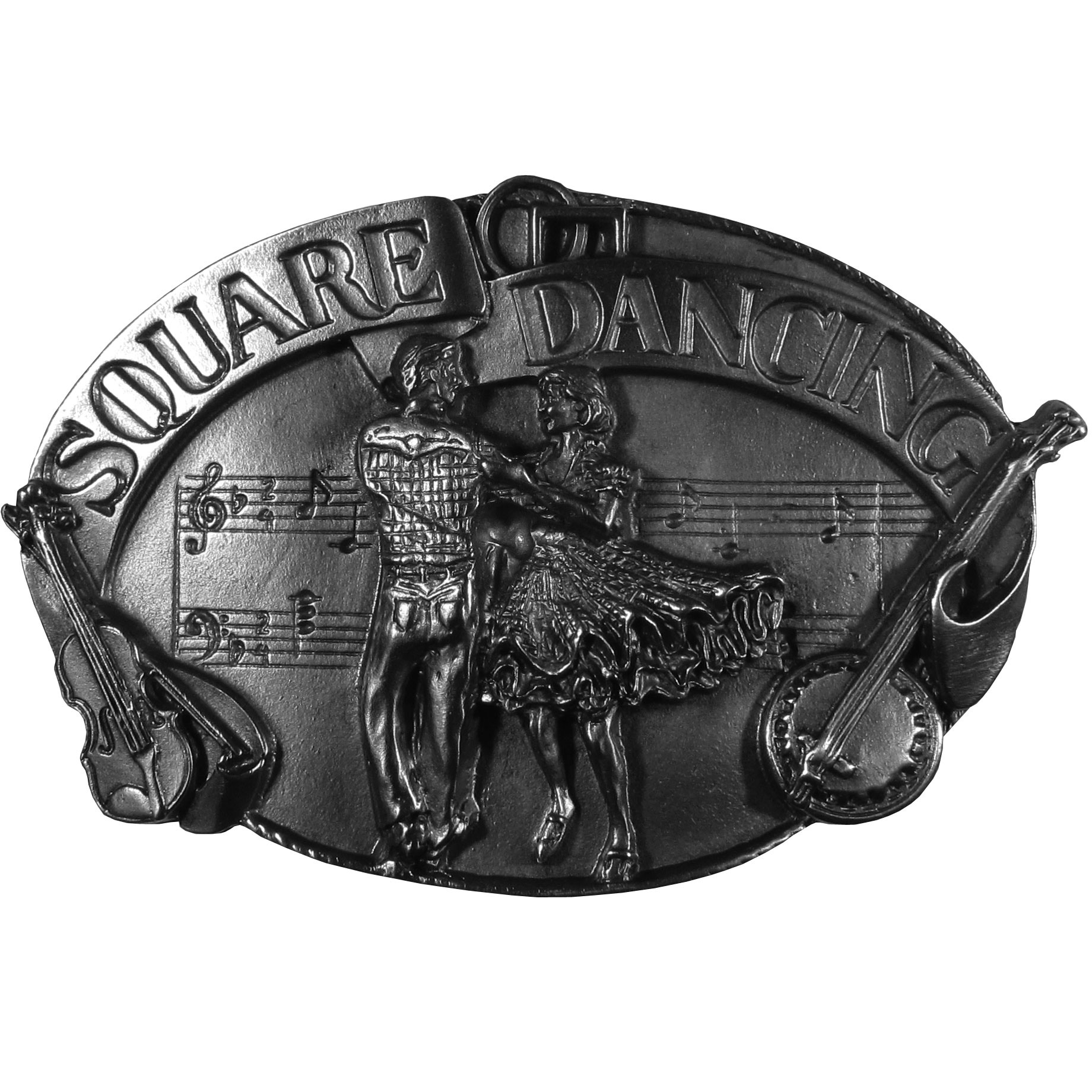 "Square Dancing Antiqued Belt Buckle - ""Do you love square dancing?  This belt buckle is for you!  ""Square Dancing"" is written across the top in bold with a couple square dancing below and a fiddle and banjo on the sides and musical notes in the background.  On the back are the words, """"Square dance is an American form of folk dance done by four couples in a square formation.  Square dancing is a great recreational activity that is best described in live words: it's a lot of fun!"""""""