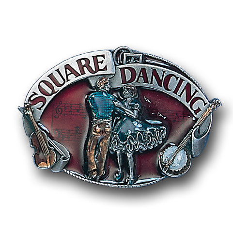 Belt Buckle - Square Dancing  - This finely sculpted and hand enameled square dancing belt buckle contains exceptional 3D detailing. Siskiyou's unique buckle designs often become collector's items and are unequaled with the best craftsmanship.