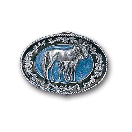 Belt Buckle - Mare with Colt - This finely sculpted and hand enameled horse belt buckle contains exceptional 3D detailing. Siskiyou's unique buckle designs often become collector's items and are unequaled with the best craftsmanship.