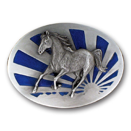 Belt Buckle - Running Horse  - This finely sculpted and hand enameled horse belt buckle contains exceptional 3D detailing. Siskiyou's unique buckle designs often become collector's items and are unequaled with the best craftsmanship.