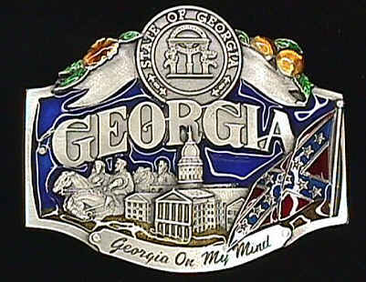 Belt Buckle - Georgia On My Mind  - This finely sculpted and hand enameled Georgia belt buckle contains exceptional 3D detailing. Siskiyou's unique buckle designs often become collector's items and are unequaled with the best craftsmanship.