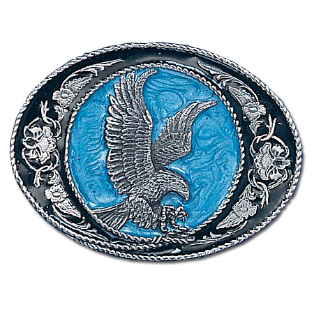 Belt Buckle - Western Scroll Eagle  - This finely sculpted and hand enameled eagle belt buckle contains exceptional 3D detailing. Siskiyou's unique buckle designs often become collector's items and are unequaled with the best craftsmanship.