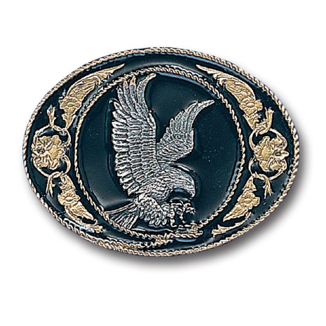 Belt Buckle - Eagle (Gold Vivatone & Black) - This finely sculpted eagle belt buckle contains exceptional 3D detailing and is finished with gold vivatone. Siskiyou's unique buckle designs often become collector's items and are unequaled with the best craftsmanship.