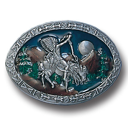 Belt Buckle - Chief Joseph  - This finely sculpted and hand enameled Chief Joseph belt buckle contains exceptional 3D detailing. Siskiyou's unique buckle designs often become collector's items and are unequaled with the best craftsmanship.