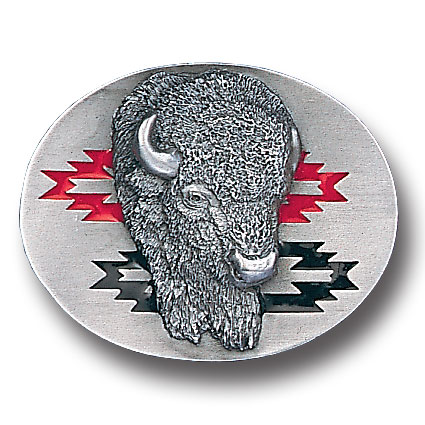 Belt Buckle - Southwest Buffalo Head - This finely sculpted and hand enameled buffalo belt buckle contains exceptional 3D detailing. Siskiyou's unique buckle designs often become collector's items and are unequaled with the best craftsmanship.