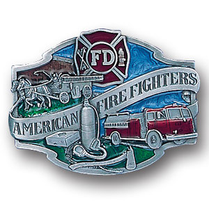 Belt Buckle - American Fire Fighters  - This finely sculpted and hand enameled Fire Fighter belt buckle contains exceptional 3D detailing. Siskiyou's unique buckle designs often become collector's items and are unequaled with the best craftsmanship.