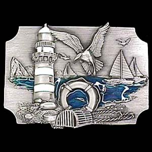 Belt Buckle - Coastal Scene  - This finely sculpted and hand enameled belt buckle contains exceptional 3D detailing. Siskiyou's unique buckle designs often become collector's items and are unequaled with the best craftsmanship.