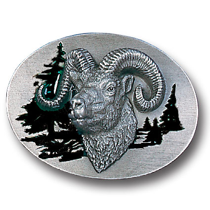 Belt Buckle - Ram's Head Profile  - This finely sculpted and hand enameled ram belt buckle contains exceptional 3D detailing. Siskiyou's unique buckle designs often become collector's items and are unequaled with the best craftsmanship.